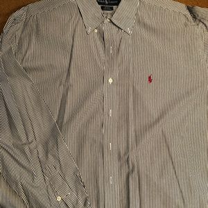 Ralph Lauren white with dark blue stripe shirt